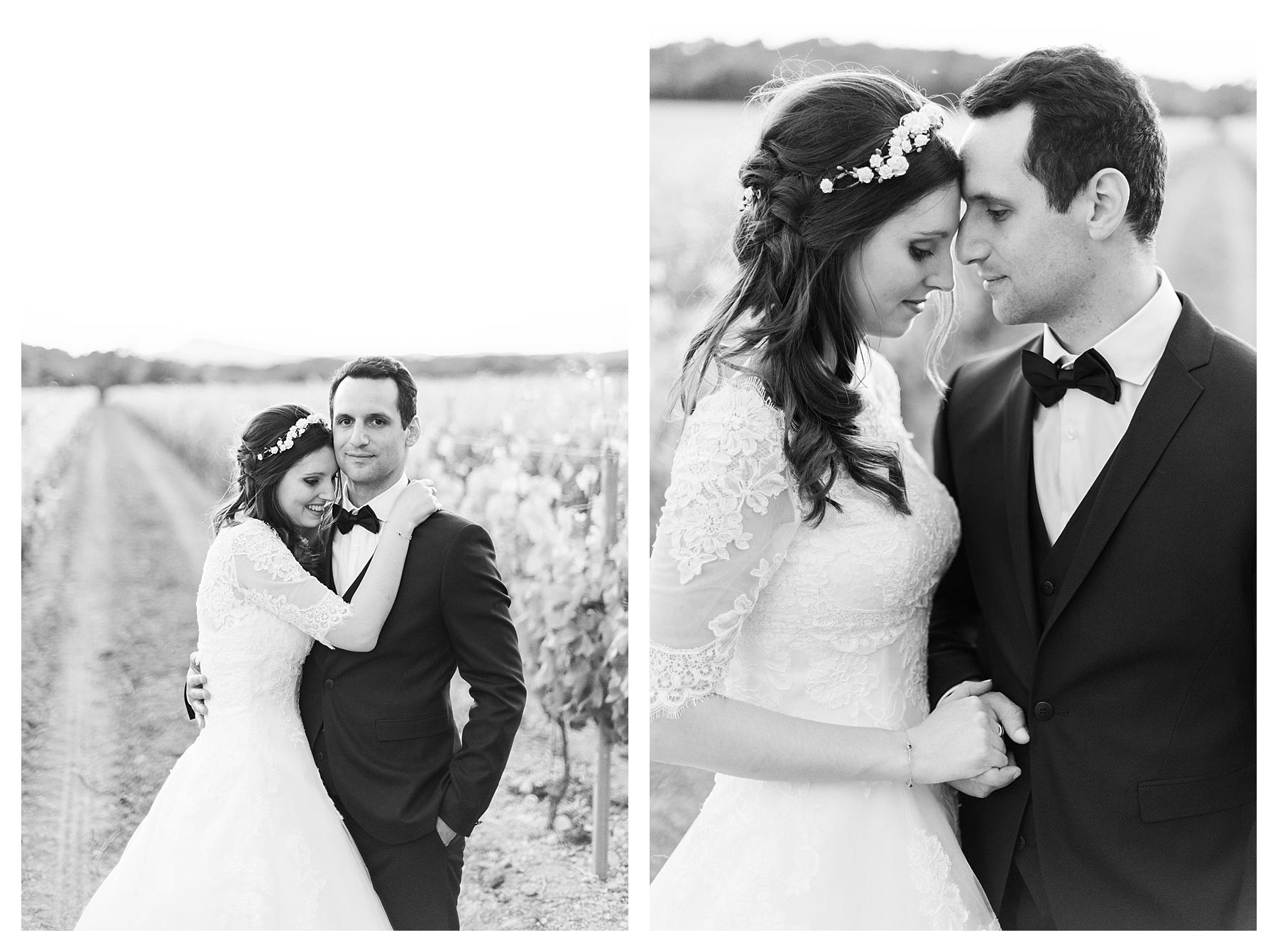 photo couple mariage noir et blanc chateau les crostes