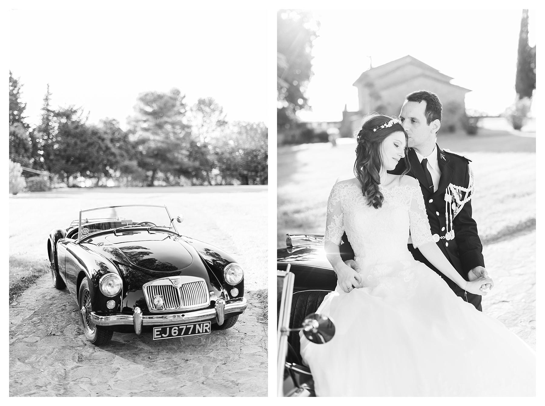 photo couple mariage chateau les crostes noir et blanc